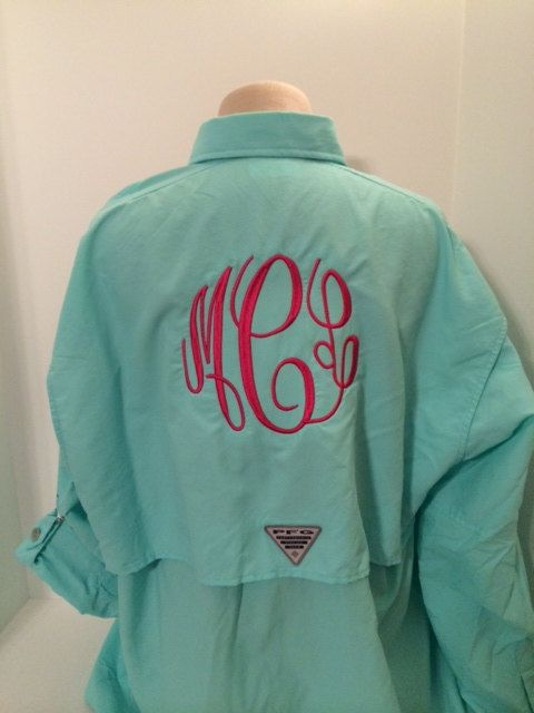 Monogrammed Columbia PFG Shirt by tjembroidery on Etsy, $45.00