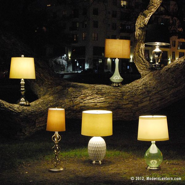 Modern Lantern, battery powered lamps - no cords! perfect.