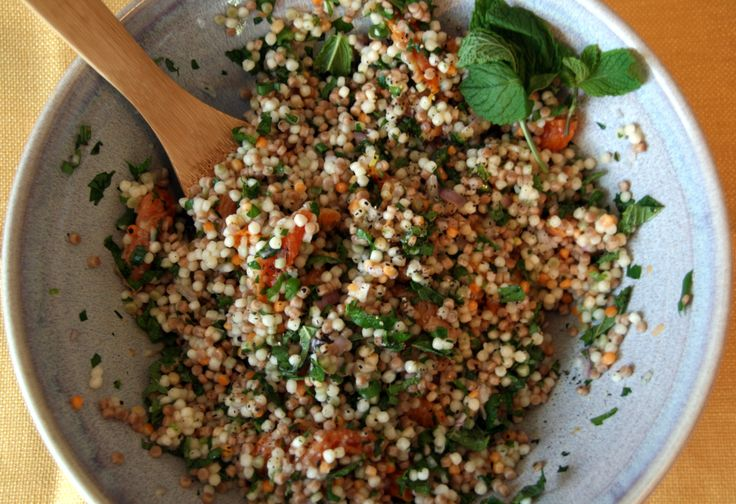 North African food: Apricot mint couscous salad. I ate this in a restaurant recently..was so delicious I have to try to copy.