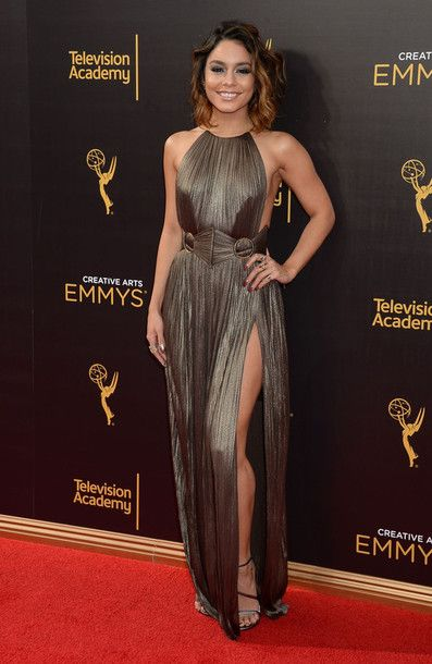 Dress: gown vanessa hudgens slit prom metallic prom gown prom beauty red carpet shoes