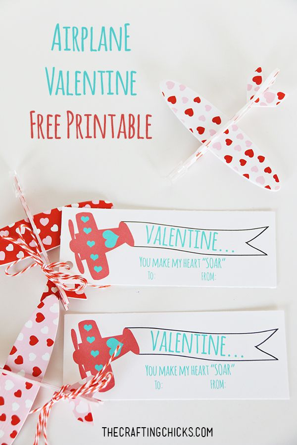 "You Make My Heart ""Soar"" Airplane Valentine *Free Printable - a fun non-candy valentine printable!"