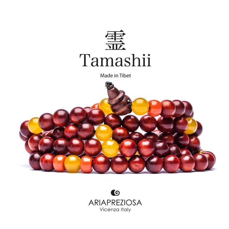 Tamashii - Mala Tibetana in Legno orientale Chinese Yew (Taxus chinensis) profumato e pietre naturali Corniola e Agata Gialla