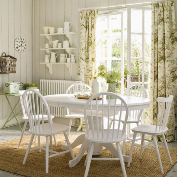 Country Dining Room With Toile Curtains And White Furniture Memorable Country Dining Room Style For Your House