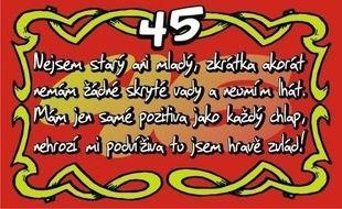 Přání k 45. narozeninám (kartička)