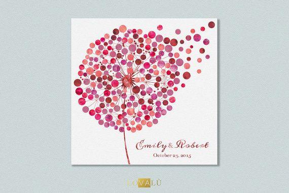 Custom wedding Guest book dandelion  tarassaco by LovaluDesign