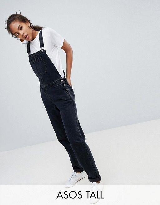 a68763ea76 DESIGN Tall denim overall in washed black in 2018