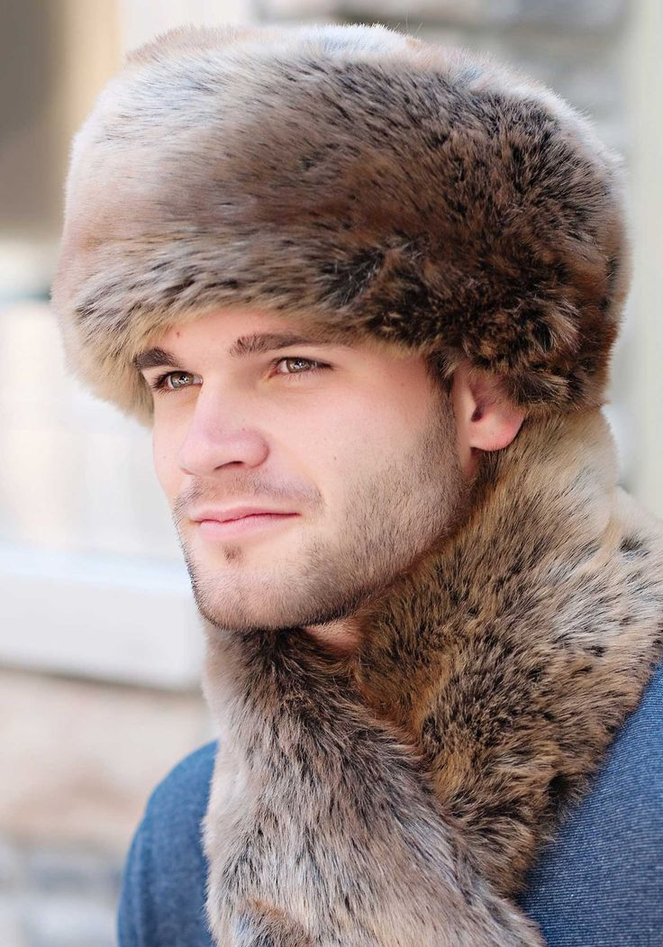 Mens Coyote Faux Fur Russian-Style Hat