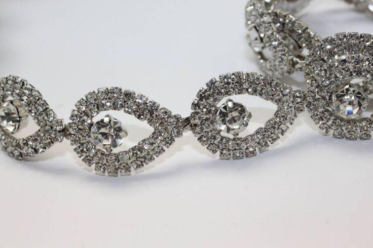 "31"" headdress clothing costume teardrop rhinestone crystal silver chain trim #FashionSense"