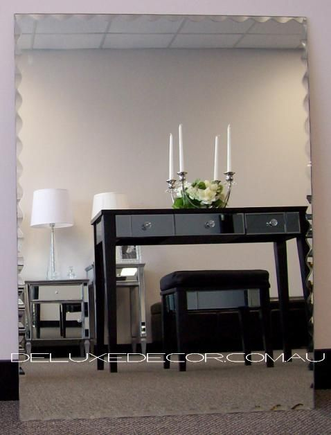 Rectangle Scallop Bevelled Edge Wall Mirror 6001 (800 x 600 mm) http://deluxedecor.com.au/products-page/wall-mirrors/rectangle-scallop-bevelled-edge-wall-mirror-6001/