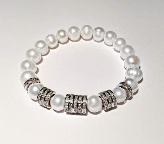 FREE shipping, 3,52 ct, PEARL and DIAMOND bracelet, diamond and white pearl bracelet, bridal bracelet, genuine diamond
