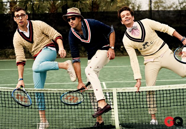 Preppy fun. on GQ, Feb 2013. JACK ANTONOFF (LEFT): Sweater by Tommy Hilfiger, polo shirt by Ben Sherman, chinos by Scotch & Soda. ANDREW DOST (CENTRE): Sweater by J.Press, pants by Band of Outsiders. NATE RUESS (RIGHT): Sweater by Polo Ralph Lauren, shirt by Michael Bastian, pants by Tommy Hilfiger, bow tie by Alexander Olch.
