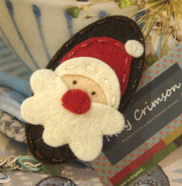 Wool felt hair clip -Santa father christmas -brown. $6.00, via Etsy.