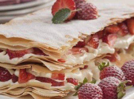 Receita de Torta Mil Folhas... - 250g de massa folhada ou massa filo, 500ml de leite, Casca de 1/2 limão, 6 gemas, 1 xícara de chá de açúcar, 3 colheres de...