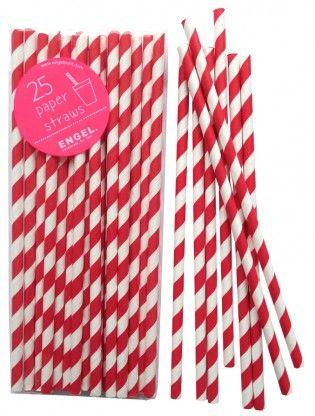 Paper straws red stripe