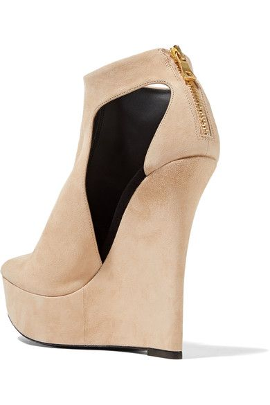 Balmain - Amaya Cutout Suede Platform Sandals - Beige - IT40.5