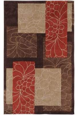 Ebern Designs Deveau Handmade Tufted Dark Chocolate Red Taupe Rug Wayfair Floral Rug Area Throw Rugs Area Rug Collections