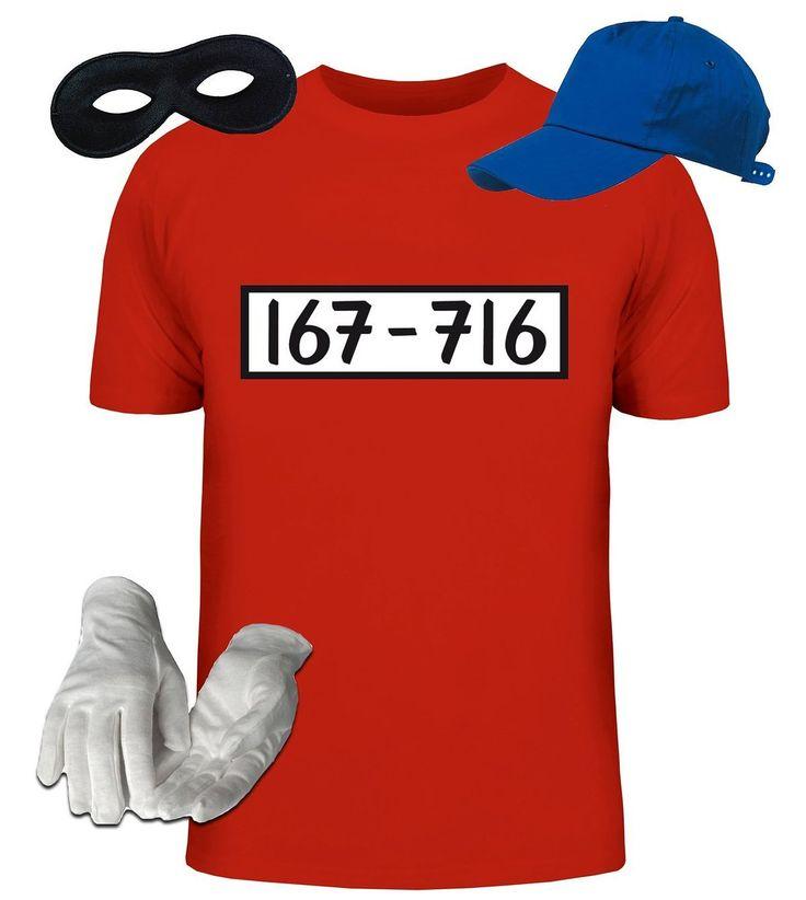Kostüm für Panzerknacker Fans Fasching Karneval Herren T-Shirt+Cap+Handschuhe+Maske: Amazon.de: Bekleidung