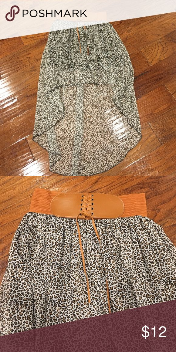 High-Low Cheetah Skirt! Size large in Juniors. Fits a size small in women's. I wear a size 27 pant and it fit me! Worn once to a wedding! Skirts High Low