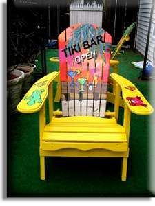 Adirondack Chair Yellow Tiki Bar Parrot Head Style Tropical Hand Painted  And Air Brushed Wood Outdoor Chair