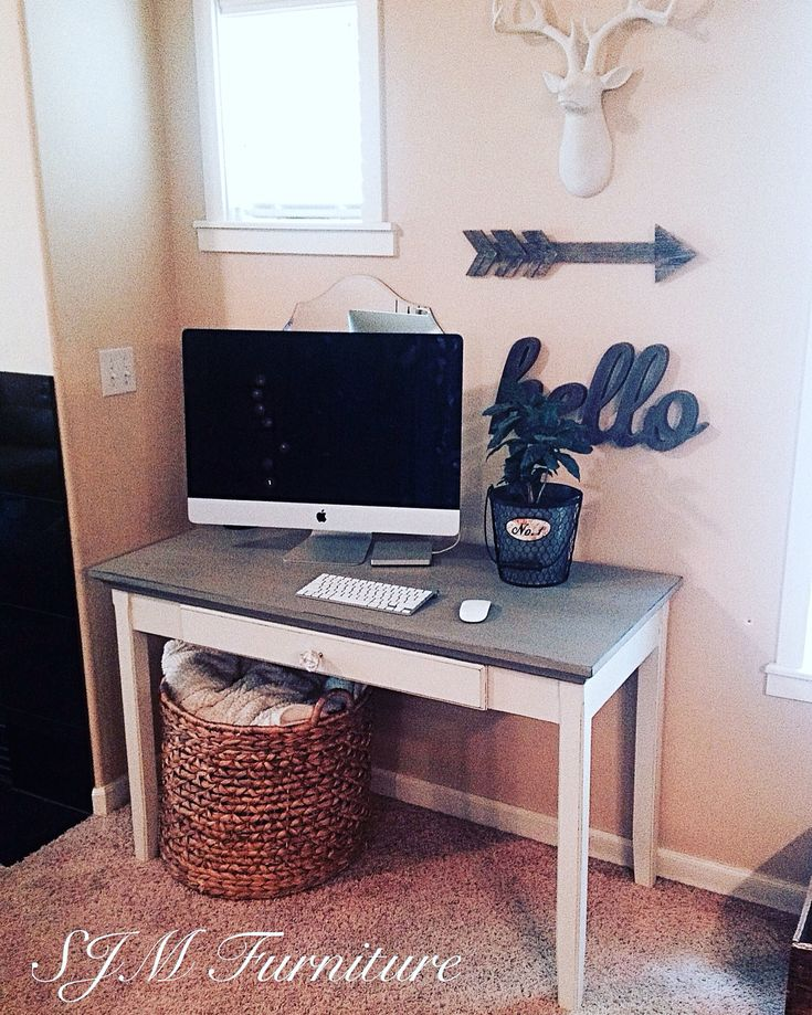 Finished our computer desk today. Now we can keep an eye on the kids while they're on the computer right here in the living-room with us instead of them hiding out in the office and the new work space looks cute too!! Chalk paint, clear wax, distressed. Target furniture hack by SJM Furniture