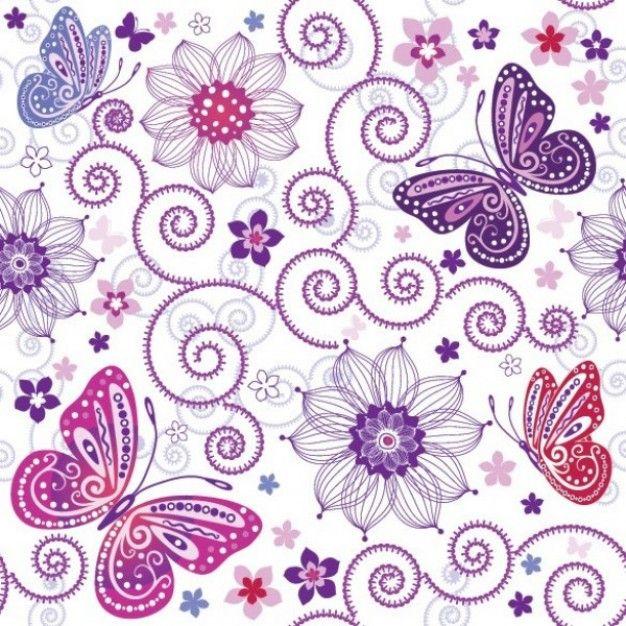 fondo floral muy bello con mariposas
