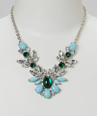 Look at this #zulilyfind! Silver & Emerald Crystal Feather Bib Necklace by Sorta Southern Boutique #zulilyfinds