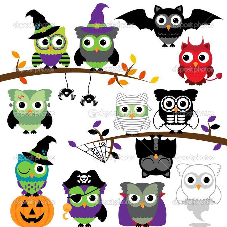 Скачать - Векторная коллекция жуткий Хэллоуин совы — стоковая иллюстрация #51923045