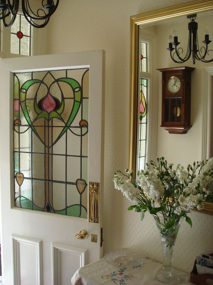 I really want a stained glass for the window up the stairwell- Hall: Edwardian stained glass c.1908