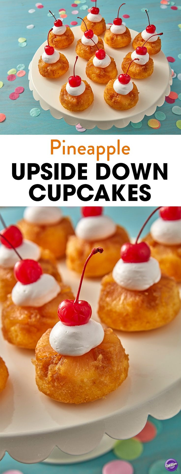 Enjoy a taste of island living with these Coconut Pineapple Upside Down Cakes. Flavored with coconut rum, brown sugar and pineapple juice, these pineapple upside down cupcakes offer a little escape to paradise. Use the Wilton mega muffin pan to make several cakes for a luau party, summer shower or indoor beach party!