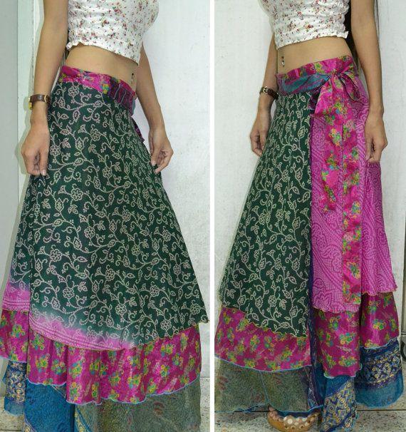 3 Layers Long Wrap Skirt India Sari Hippie Gypsy Boho par Beeskirt
