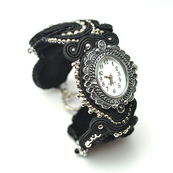 Soutache watch, wrist watch, soutache bracelet, black watch, black soutache, gothic jewelry, elegant bracelet, black silver jewelry