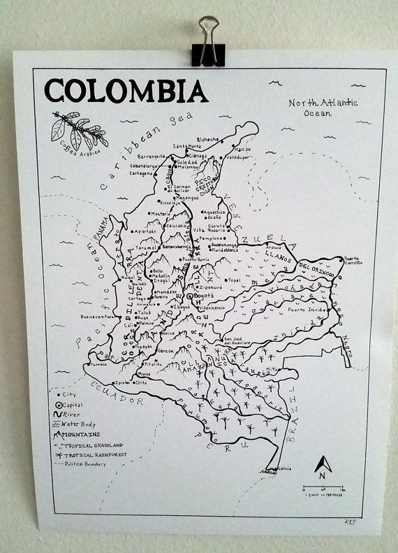 Kolumbien Hand gezeichneten Karte von MeanderMAPS auf Etsy