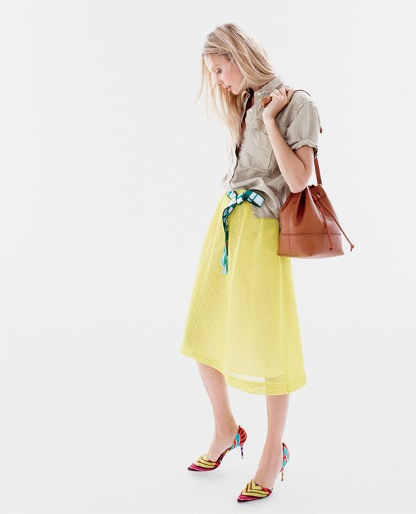 J.Crew women's garment-dyed military popover shirt, Collection mesh-eyelet skirt, Downing bucket bag and Elsie fabric d'Orsay pumps.