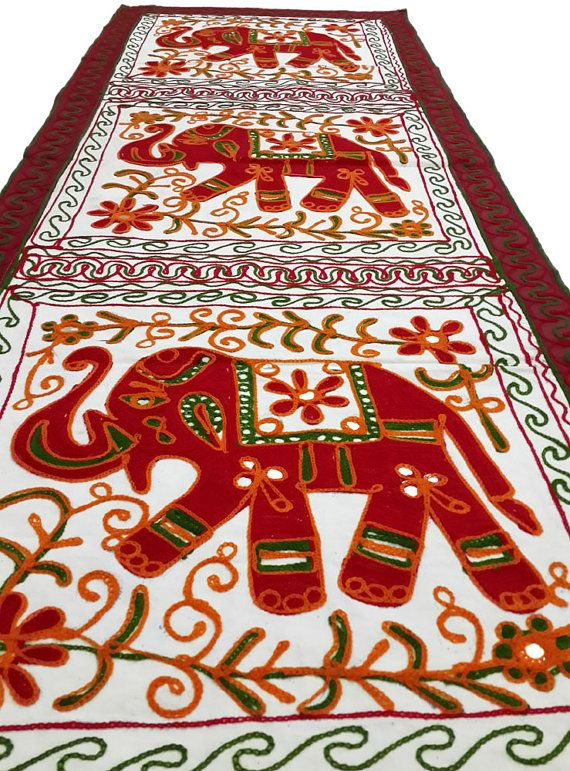 Dineshalini Wall Decor Vintage Tapestry, Elephant- Long03 - 1pc, Ancient Style, Tribal Look, Wall Hanging, Wall Decor, Free Shipping