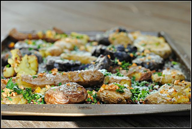 ... sinful. Meatless Monday: Parmesan Gremolata Smashed Potatoes