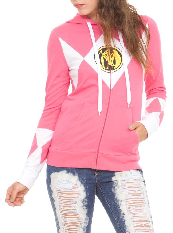It's Morphin time! Suit up as the Pink Ranger with this pink zip hoodie from Mighty Morphin Power Rangers.