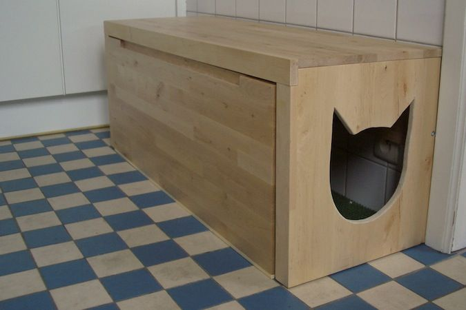 Hiden kitty liter box | the second project uses a bench no longer sold by ikea but the stuva ...