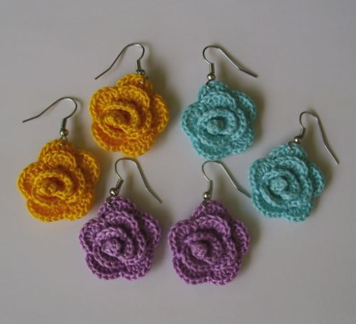 crochet rose earrings | Tumblr