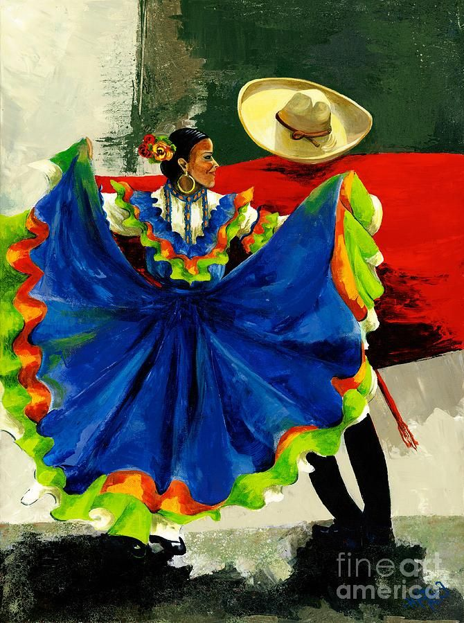 Mexican Dancers Painting  - Mexican Dancers Fine Art Print