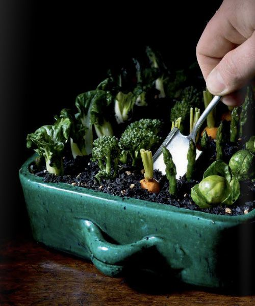 "Looks like a garden, eh? Actually it's a complete eatable salad by Heston Blumenthal! From ""Heston Blumenthal at home"""