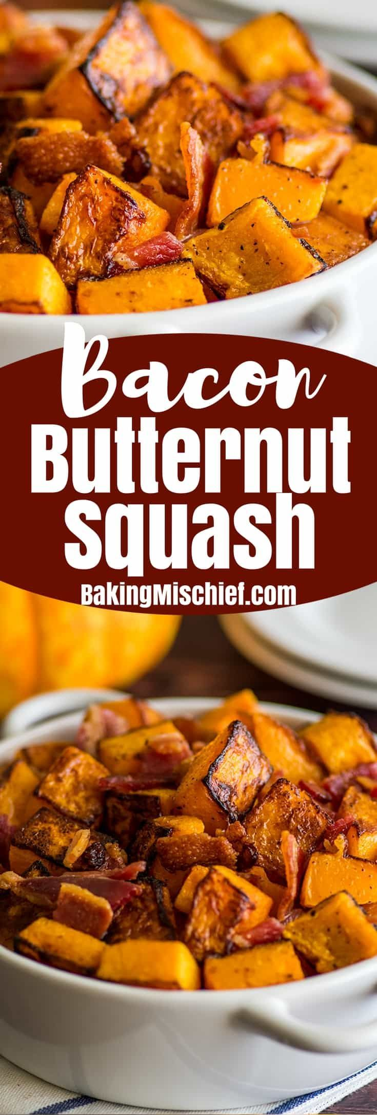 This Roasted Bacon and Butternut Squash Side Dish is the perfect easy, no-fail fall side. | Easy Side Dishes | Recipes for Two | #FallRecipes |