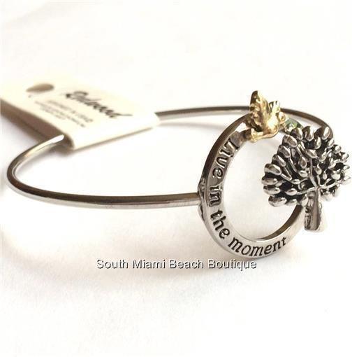 Silver Tree of Life Bracelet Bangle Celtic Live in the Moment Message USA Seller #Redwood #Bangle