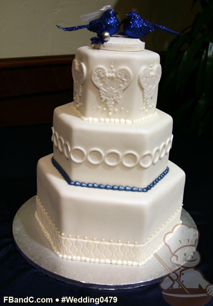 "Design W 0479 | Fondant Cover Wedding Cake | 12""+9""+6"" Hexagon | Serves 75 | Fondant embellishments on each tier | Custom Quote"