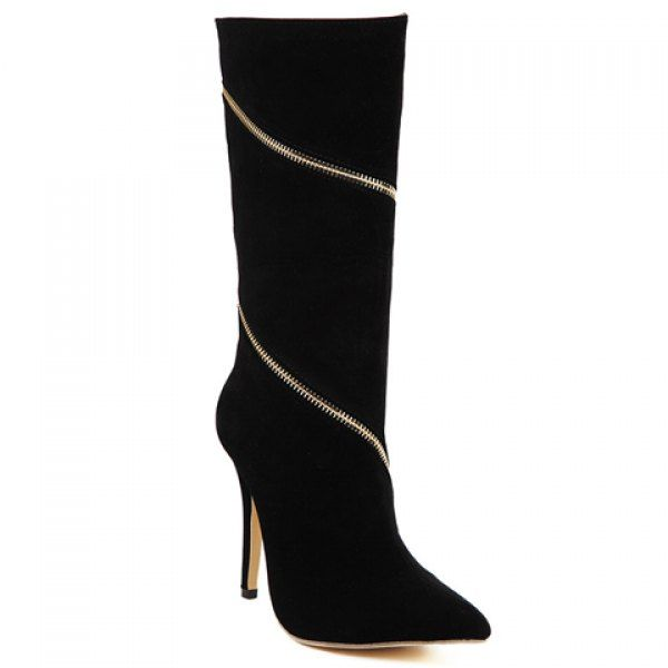 Sexy Suede and Zipper Design Women's Mid-Calf Boots