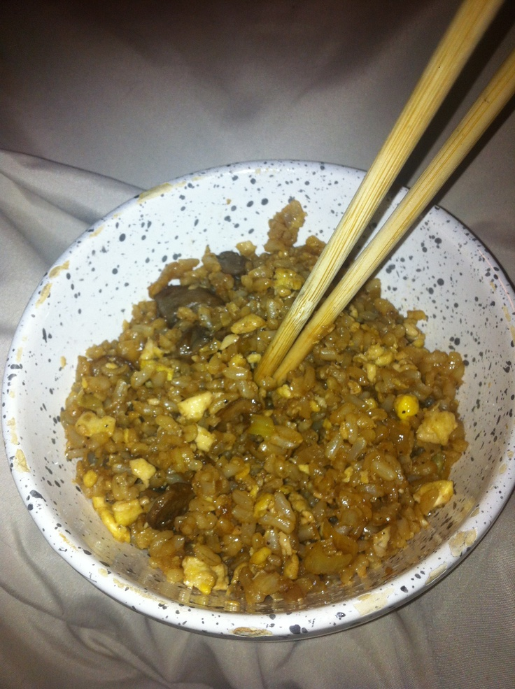 Homemade Chinese fried rice with mushrooms and onions!