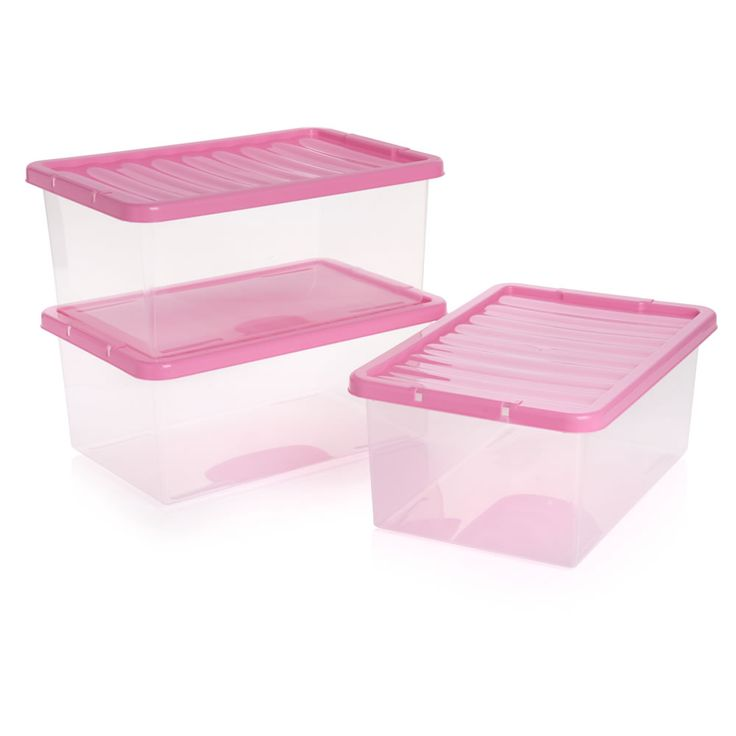 Storage Box With Pink Lid 3pk