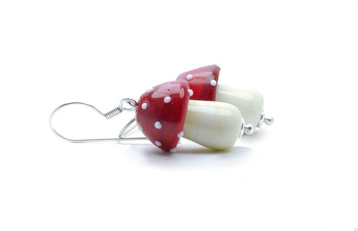 Glasohrringe - Lampwork Ohrringe Fliegenpilze, Silber 925 - ein Designerstück von CuteBeads bei DaWanda