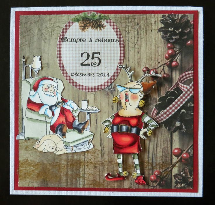 Art Impressions Reindeer Games Set (Sku#4351) Sleepy Santa TF (Sku#4341) Handmade Christmas card with Santa.