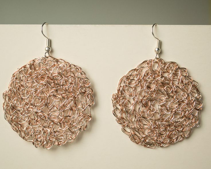 Handmade Earring wire Crocheted Silver plated and Copper Wire by Unikacreazioni on Etsy