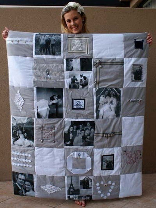 Photo Memory Quilt. It is a wonderful idea to make a photo memory quilt to give your best friend as a Christmas present or a Thanksgiving gift. Making one quilt like this requires some patience and skills.